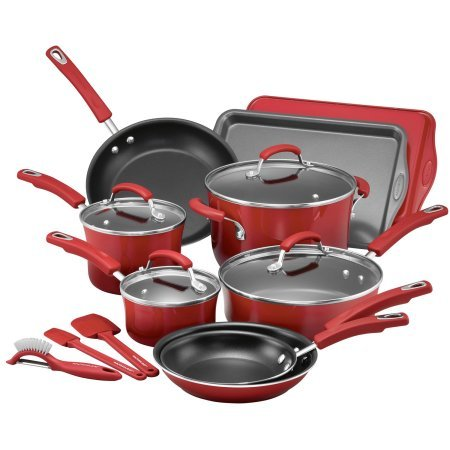 Rachael Ray 16-Piece Hard Enamel Nonstick Cookware Set, Red Gradient