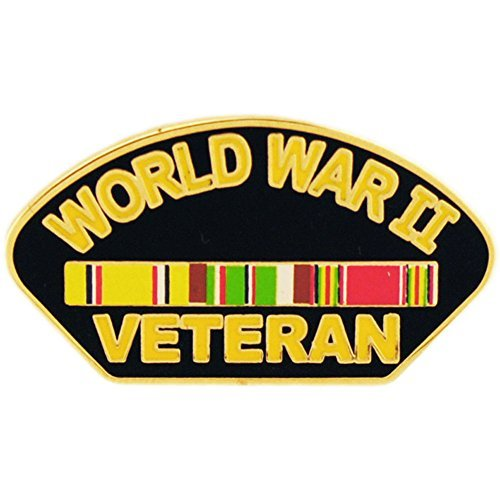 WWII Veteran Pin With Ribbon Military Collectibles for Men Women