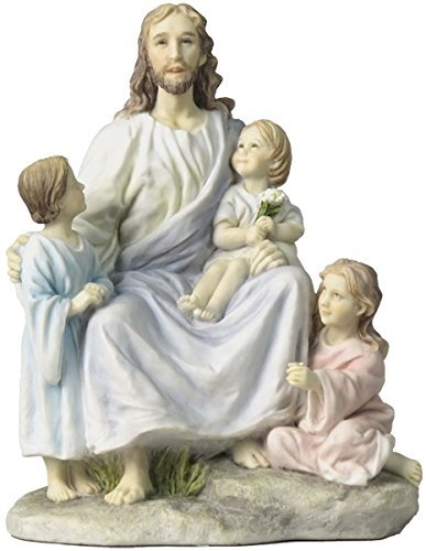 "7"" Jesus with Three Children Statue Sculpture Figure Christ Catholic Decor"