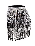 Sequins Tassel Skirt Belly Dance Hip Scarf with 6