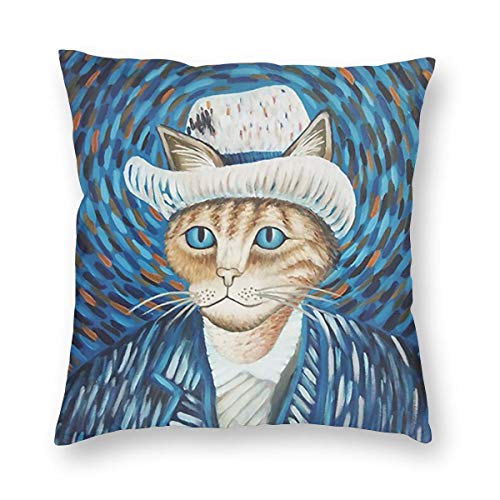 HOLIW Self Portrait of Cat Art Pillow Cover 3D Print Ins Style Pillowcase Soft Polyester Square Pillow Cover Shell for Home Office Sofa Bed ()