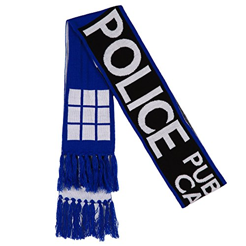 Doctor Who Scarf - TARDIS Police Call Box Fringed Knit Scarf -