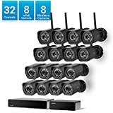 Zmodo 32 Channel 1080p HDMI NVR 8 Simplified PoE Camera + 8 Wireless Camera Outdoor 720p HD Security System,24/7 Recording & Remote Monitoring, w/Repeater Flexible Installation