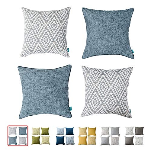 HOMEPLUS Plaid Cotton Decorative Pillow Covers 4 pcs Throw Pillows Covers Navy Blue Couch Pillowcase Cushion Cover 17X17 Throw Pillow Cover Couch Blue (Pillow Couch Slipcovers)