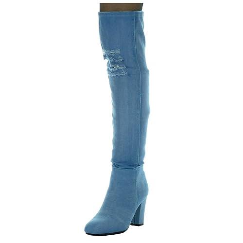 fc868b530 Angkorly - Zapatillas de Moda Botas Altas Cavalier Jeans Denim Flexible  Mujer Rasgado Talón Tacón Ancho Alto 8.5 CM  Amazon.es  Zapatos y  complementos
