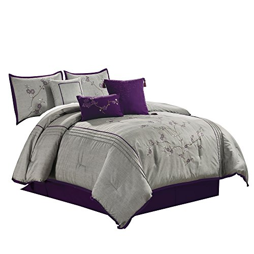 (Chezmoi Collection Miki 7-Piece Luxury Purple Cherry Blossoms Floral Embroidery Bedding Comforter Set King Size,)