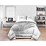 4pc Kids White Grey Star Wars Movie Theme Comforter Full Queen Set, Cool Boys Millennium Falcon TIE War Fighter Bedding, Gray Silver, Starwars Emperor Darth Vader Galaxy Force Themed Pattern
