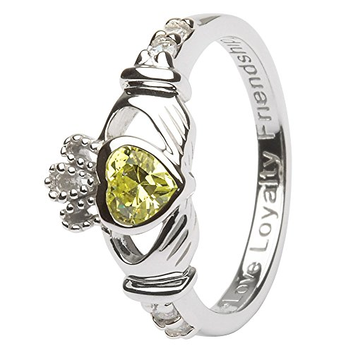 AUGUST Birth Month Silver Claddagh Ring LS-SL90-8 - Size: 7 Made in Ireland.