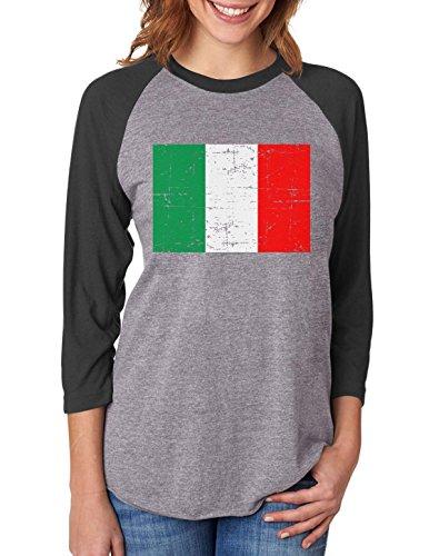 Vintage Italy Flag Retro Italian Style 3/4 Women Sleeve Baseball Jersey Shirt Small black/gray