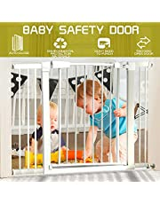 75cm Tall Baby Safety Gate Child Pet Security Stair Barrier Door Adjustable Wide 70-112 Adjustable√ 1X10CM&1X20CM Extension Panels