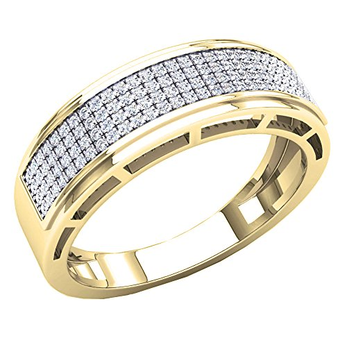 0.30 Carat (Ctw) 10K Yellow Gold Round White Diamond Men's Hip Hop Wedding Band 1/3 CT (Size 11.5) by DazzlingRock Collection