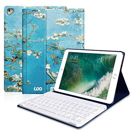 (COO iPad Keyboard Case 6th Gen for 9.7 inch iPad Pro 2018/2017 (5th Gen), iPad Air 2/Air, Wireless Bluetooth Detachable Protective Cover with Pencil Holder, Smart Auto Sleep-Wake (Blossom))