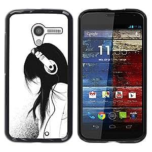 Impact Case Cover with Art Pattern Designs FOR Motorola Moto X 1 1st GEN I Music Girl Headphones Minimalist Sad Betty shop