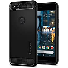 Spigen Rugged Armor Google Pixel 2 XL Case with Resilient Shock Absorption and Carbon Fiber Design for Google Pixel 2 XL (2017) - Black