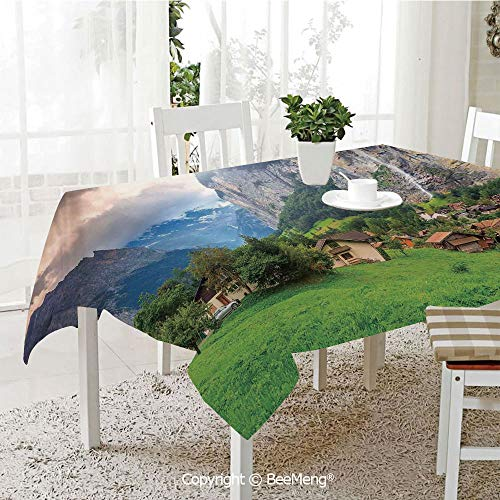 Rock Layered Waterfall - BeeMeng Dining Kitchen Polyester dust-Proof Table Cover,Farm House Decor,Town by The Rocks on Waterfall Background European Peaks Sunlight The Alps,Green Grey,Rectangular,59 x 59 inches