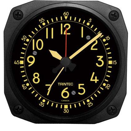 Trintec Aviation Desk Top Travel Alarm Clock Aircraft Vintage Cockpit Style Face & Unique Casing 12 Hour Display