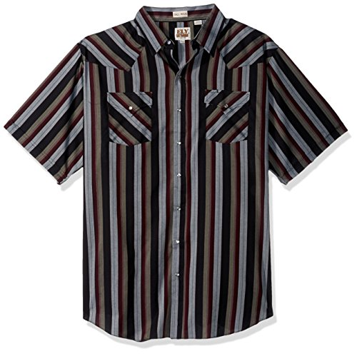 Tall Stripe Western Shirt - Ely & Walker Men's Size Short Sleeve Stripe Western Shirt-Tall, Burgundy, 3X-Large