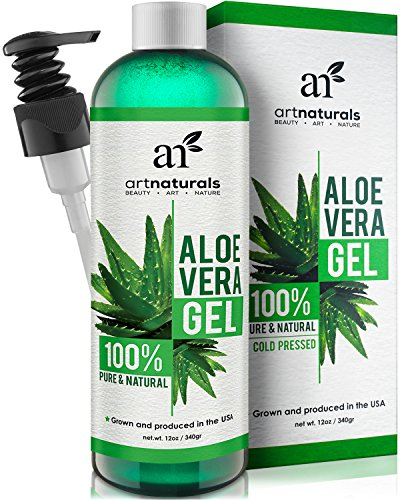 Art Naturals Aloe Vera Gel for Face, Hair & Body - 12 Oz Organic, 100% Pure Natural & Cold Pressed - For Sun Burn, Eczema, Bug or Insect Bites, Dry - Plus Fruit Miracle