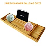 Slashome Bamboo Luxury Bathtub Caddy Tub Organizer with Extending Sides,2 Removable Boards and Adjustable Stainless Steel Book/iPad Stand,Fit for Most Tubs