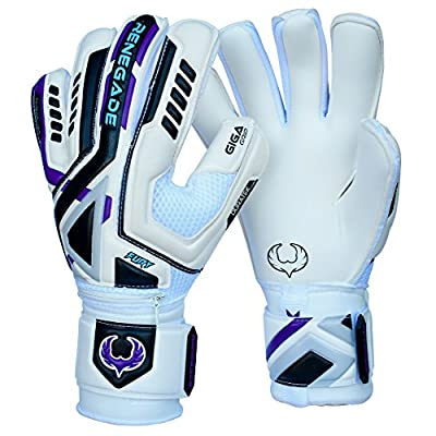 Renegade GK Fury Goalkeeper Gloves With Removable Pro Fingersaves - 3 Styles/Cuts (Hybrid, Roll, Flat), Sizes 7-11 - Improve Any Soccer Goalie's Confidence & Performance - Unisex, Adult & Youth