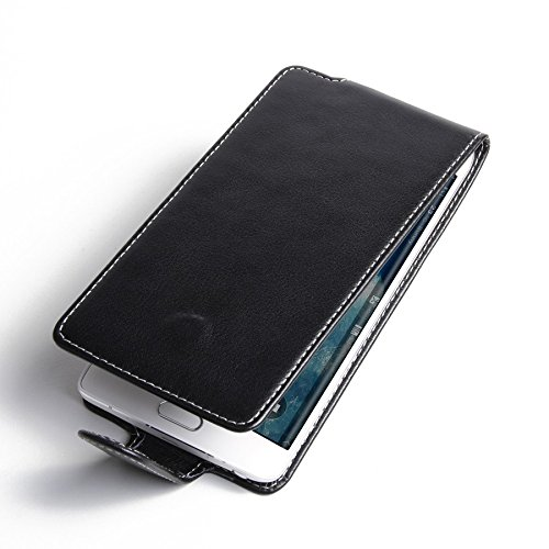 PDair Black Leather Flip Case for Samsung Galaxy Note Edge