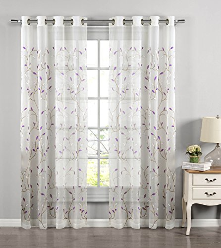 "Window Elements Wavy Leaves Embroidered Sheer Extra Wide 54 x 84 in. Grommet Curtain Panel, Lilac - Includes (1) 54"" W x 84"" L curtain panel Each extra-wide panel features (8) gunmetal-colored grommets 2.5"" reinforced grommets fit up to a 1.5"" curtain rod (curtain rod sold separately) - living-room-soft-furnishings, living-room, draperies-curtains-shades - 51X3IS4oJML -"