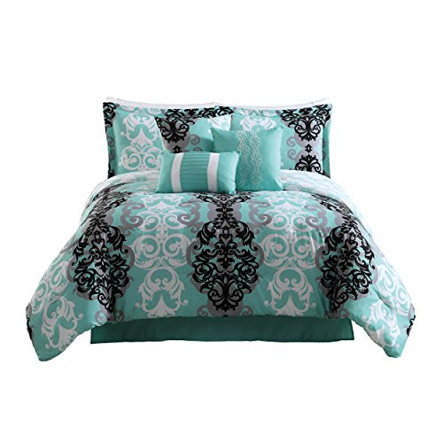 Carmela Home Downton 7-Piece Reversible Comforter Set, Full/Queen, Blue (Damask Blue Bedding)