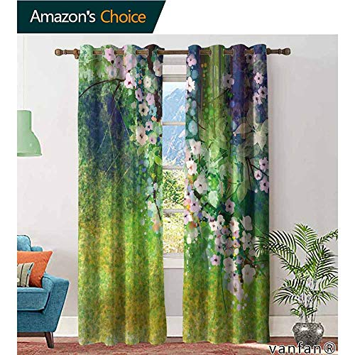 LQQBSTORAGE Flower,Curtains Blackout,Traditional Multicolored Japanese Cherry Blossom Sakura Tree Petals Grass Land Paint, Draperies for Girls Room,Pink ()