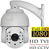 USG HD-TVI PTZ Speed Dome Security Camera With 5-50mm Motorized Zoom + Auto-Focus Lens: HD 2MP 1920x1080 Resolution, 6 Piece Array LEDs, IR-Cut, WDR, Motion Detection, DNR, Precision Drive Motor