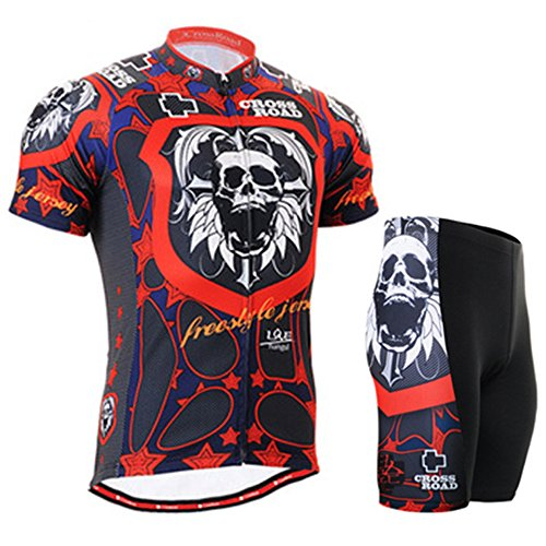 Cycling MTB Motorcycle Workout Dark Sugar Skull Compression Sportwear Top & Pad Shorts Suit Short Sleeve Yours_t_64 ()