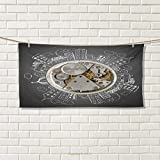 Clock,Sports Ttowel,an Alarm Clock Print with Buildings and Clouds Around It Checking The Time Art,Absorbent Towel,Beige and White Size: W 12'' x L 35.5''