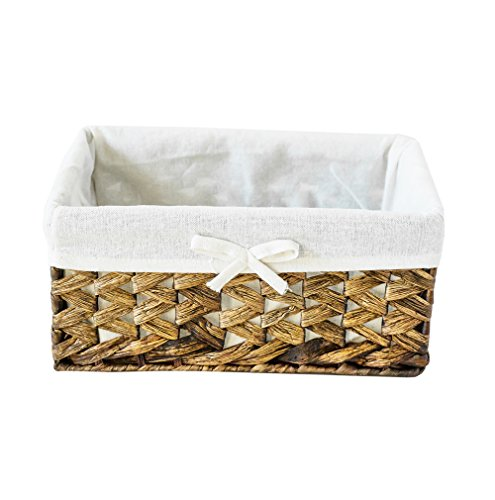 Rectangular Woven Seagrass Storage Bins with Handle,Kingwillow. (water hyacinth, Small)