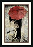 Framed Art Print, 'The Red Umbrella' by Loui Jover: Outer Size 21 x 30''