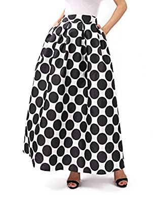 JOAUR Women's Black & White Contrast Polka Dot Print Maxi Skirt