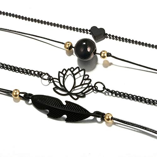 UMFunBlack Love Heart Openwork Lotus Ball Leaves Bracelet Four Sets ()