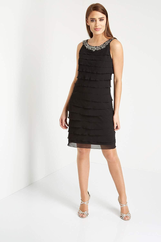07a12c580b29 Roman Originals Women's Black Embellished Chiffon Frill Little Black Dress  - Ladies Dresses for Special Formal Evening Dinners Dance Occasion Wear LBD  ...