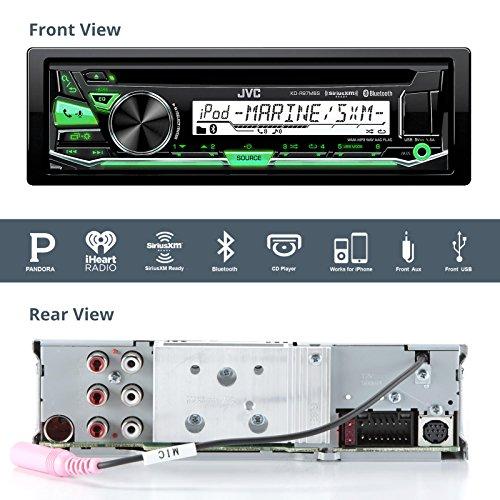 JVC Marine Stereo Receiver Bundle Kit with Remote Control, 6 Enrock 6.5