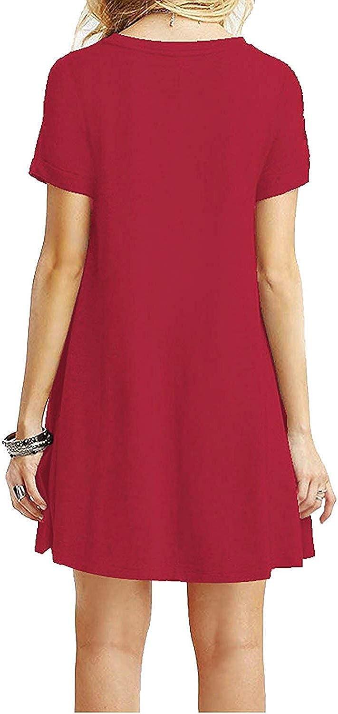 YOUCHAN Vestidos Mujer de Camiseta Suelto Casual Cuello Redondo Ocasional S/ólida Mini Vestido