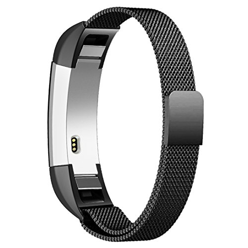 """Fitbit Alta HR and Alta Bands Metal Small & Large (5.5"""" 9.9""""), Swees Milanese Stainless Steel Replacement Band for Fitbit Alta HR and Alta Women Men, Silver, Black, Rose Gold, Colorful, Champagne"""