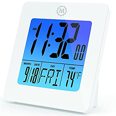 Marathon CL030050WH Digital Desktop Clock With Batteries, White
