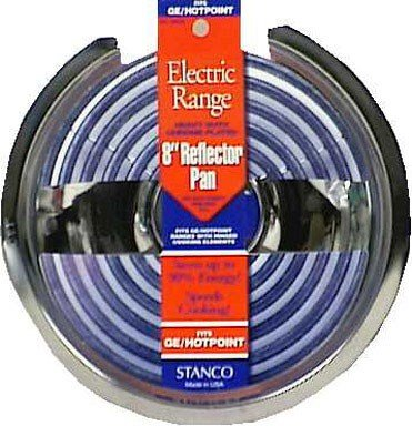 Stanco Range Reflector Pan No. 500-8 Fits G.E. & Hotpoint Electric Ranges Chrome Plated Steel, Porce