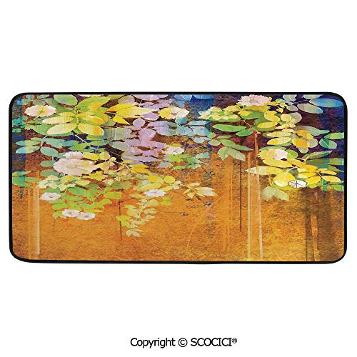 Rectangle Rugs for Bedside Fall Safety, Picnic, Art Project, Play Time, Crafts, Large Protective Mat, Thick Carpet,Watercolor Flower,Soft Colored Spring Flowers and Leaves on Misty,39