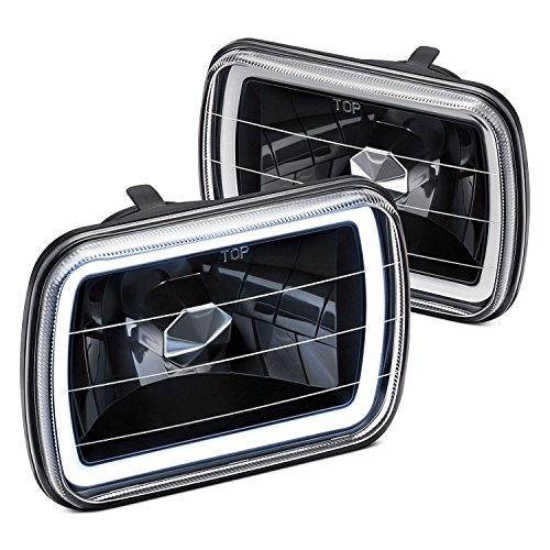 Lumen 7x6 Rectangular Halo Headlights - Black (Ccfl Halo Euro Headlights)