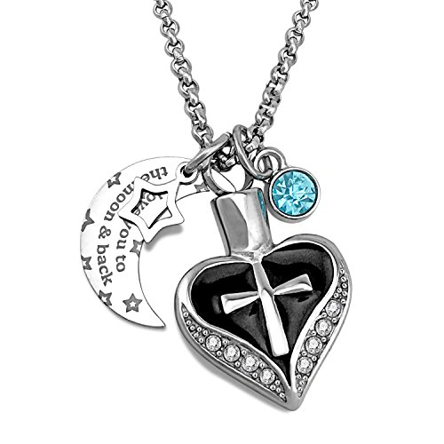 YOUFENG Urn Necklaces for Ashes I Love You to The Moon and Back Cross Necklace Birthstone CZ Keepsake Pendant (Black Enamel urn)