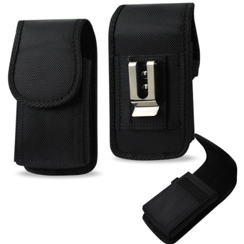 Samsung Galaxy Rugby Pro Vertical heavy duty rugged canvas cell phone case with Velcro closure, metal clip and belt loop under the clip. Comes with Antenna Booster. (Case Samsung Galaxy Rugby)