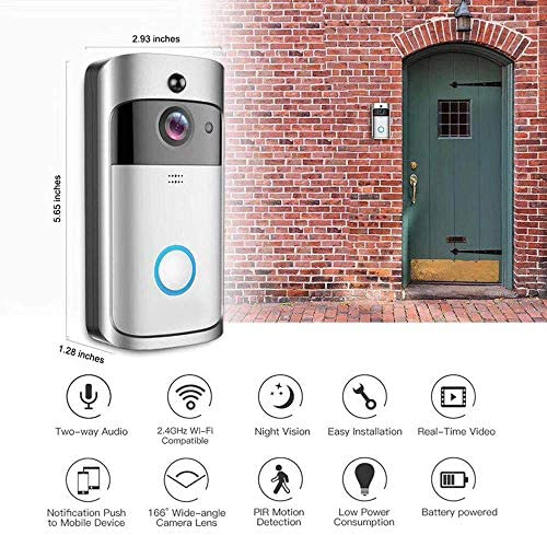 B30 WIFIドアベル、B30 IP65防水インテリジェントビデオドアベル、720PワイヤレスインターホンアラームナイトビジョンIPカメラ
