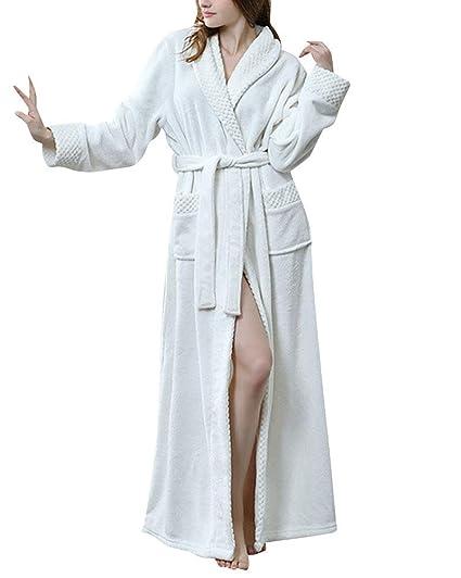 V En Col Peignoir Long Peignoirs Ultra Doux Femme Éponge Peluche fTTSqw1x76