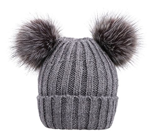 Arctic Paw Cable Knit Beanie with Faux Fur Pompom Ears Grey