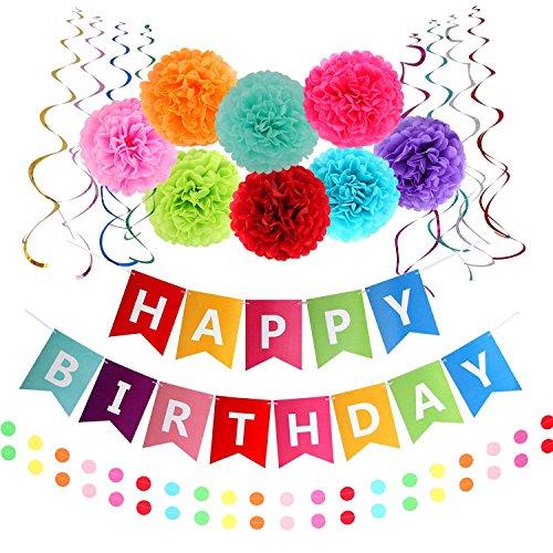 Famoby Colorful Happy Birthday Banner with Pom poms Confetti Streamer Garland Set (Happy Birhtday)