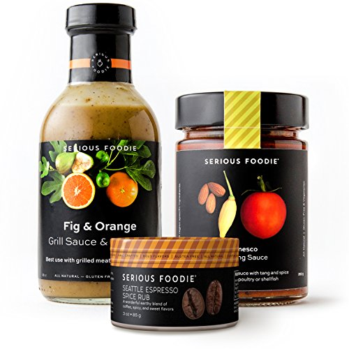 The Serious Foodie Sampler Pack - European Flavors: Fig & Orange Grill Sauce & Marinade, Romesco Finishing Sauce, Seattle Espresso Rub